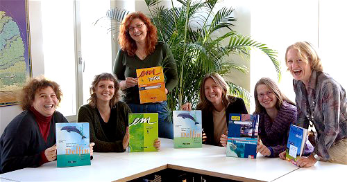 Teachers of language school TREFFPUNKT presenting their favorite textbooks